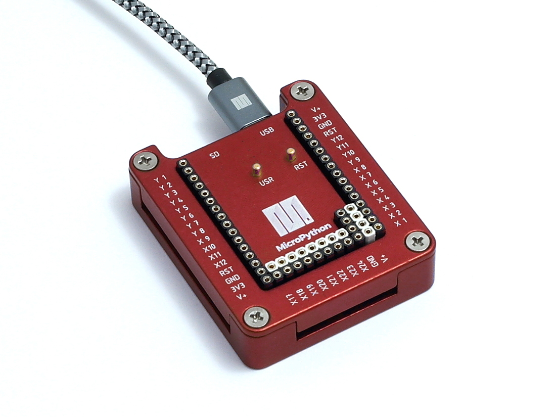 MicroPython pyboard lite with red housing